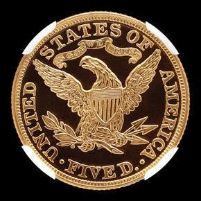 1883 $5 PF reverse