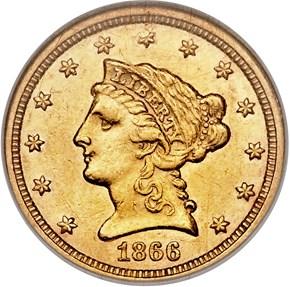 1866 $2.5 MS obverse