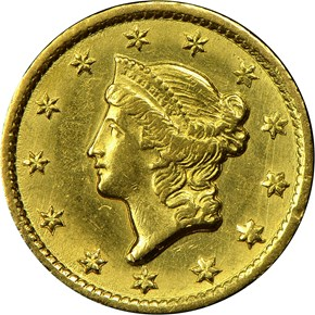 1851 C G$1 MS obverse