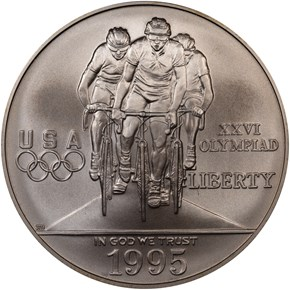 1995 D OLYMPICS - CYCLING S$1 MS obverse
