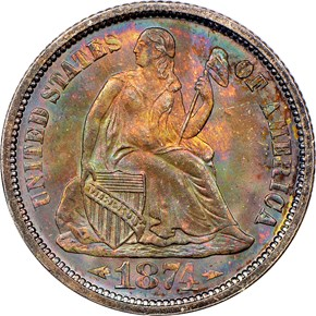 1874 ARROWS 10C MS obverse