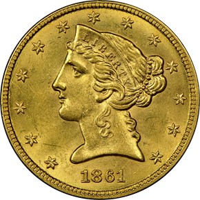 1861 $5 MS obverse