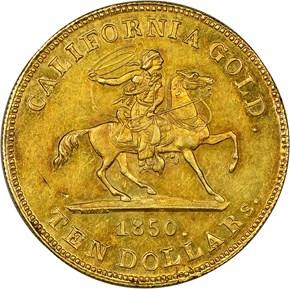 1850 BALDWIN & CO. $10 MS obverse