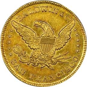 1850 BALDWIN & CO. $10 MS reverse