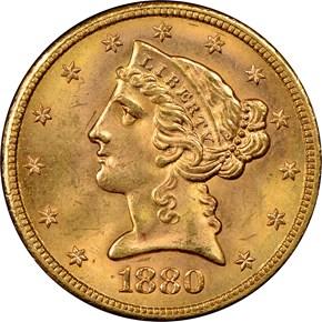 1880 S $5 MS obverse