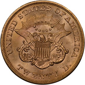 1864 S $20 MS reverse
