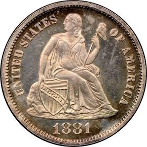 1881 10C PF obverse