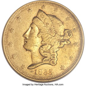 1855 LARGE HEAD WASS, MOLITOR & CO. $20 MS obverse