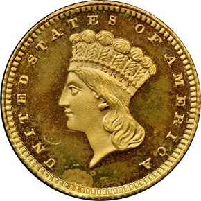 1863 G$1 PF obverse