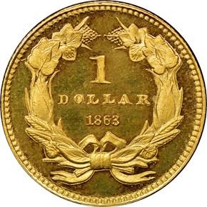 1863 G$1 PF reverse