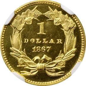 1867 G$1 PF reverse