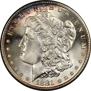 1881 S$1 MS obverse