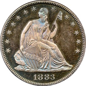 1883 50C PF obverse