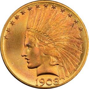 1908 S $10 MS obverse