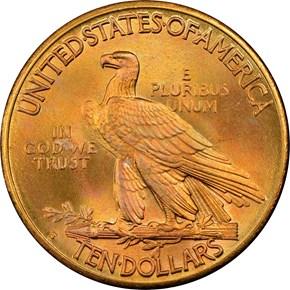 1908 S $10 MS reverse