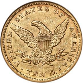 1857 $10 MS reverse