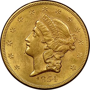 1854 SMALL DATE $20 MS obverse