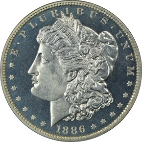 1886 $1 PF obverse