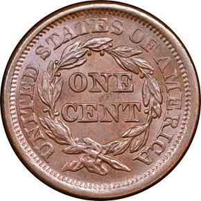 1856 LARGE 1C MS reverse