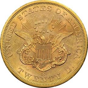 1858 S $20 MS reverse