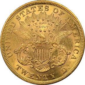 1870 $20 MS reverse