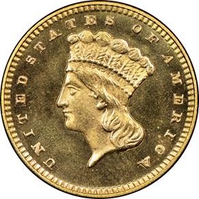 1876 G$1 MS obverse
