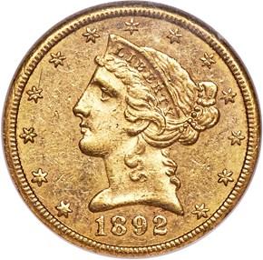 1892 CC $5 MS obverse