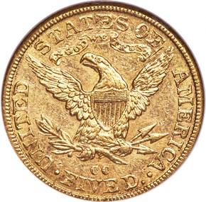 1892 CC $5 MS reverse