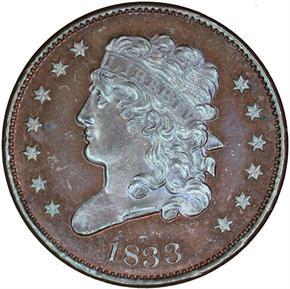 1833 1/2C PF obverse
