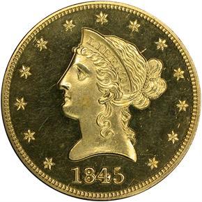 1845 $10 PF obverse