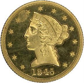 1845 $5 PF obverse