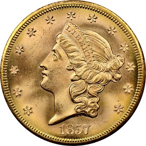 1857 S $20 MS obverse