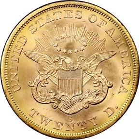 1857 S $20 MS reverse