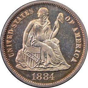 1884 10C PF obverse