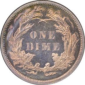 1884 10C PF reverse