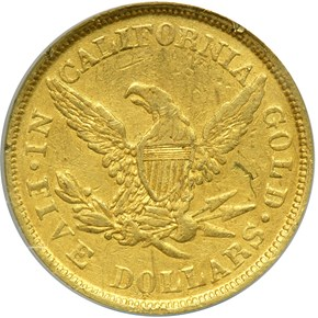 1852 LARGE HEAD WASS, MOLITOR & CO. $5 MS reverse