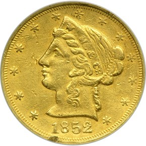 1852 LARGE HEAD WASS, MOLITOR & CO. $5 MS obverse