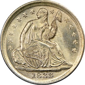 1838 SMALL STARS H10C MS obverse