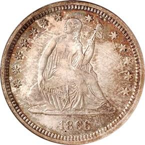 1866 MOTTO 25C MS obverse