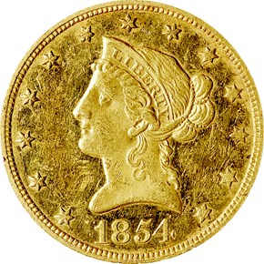 1854 $10 PF obverse
