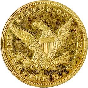 1854 $10 PF reverse