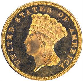 1855 S $3 PF obverse