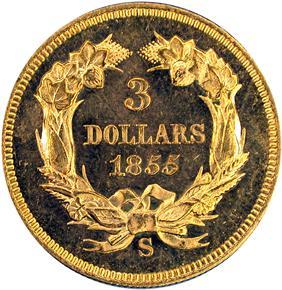 1855 S $3 PF reverse
