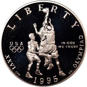1995 S OLYMPICS BASKETBALL 50C PF obverse