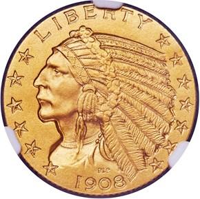 1908 $5 PF obverse