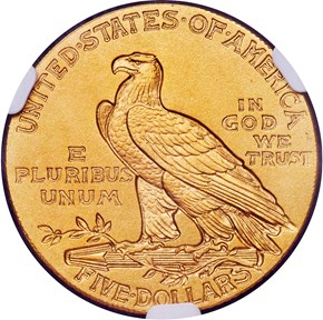 1908 $5 PF reverse