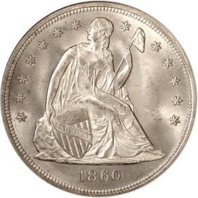 1860 S$1 MS obverse