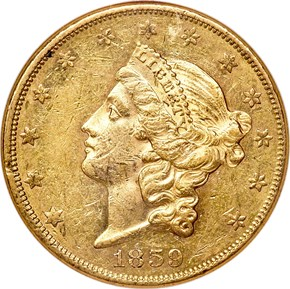 1859 $20 MS obverse
