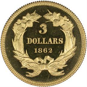 1862 $3 PF reverse
