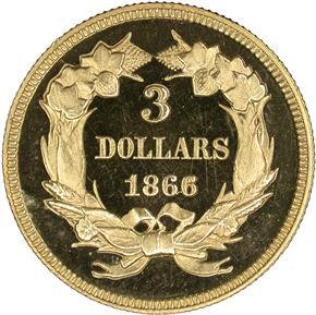 1866 $3 PF reverse